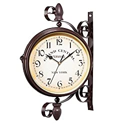 isilky 10in Vintage Double Sided Wall Clock Iron Metal Silent Quiet Grand Central Station Wall Clock Art Clock Decorative Double Faced Wall Clock 360 Degree Rotate Antique Wall Clock