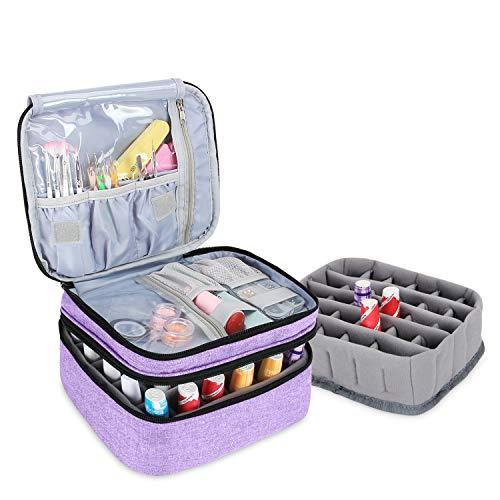 Luxja Nagellack Aufbewahrung Box, Nagellack Tasche, Aufbewahrung für Nagellack-Hält 30 Flaschen (15ml - 0,5 FL.oz), Doppelschicht Aufbewahrungstasche für Nagellacke und Maniküre, Helles Lila