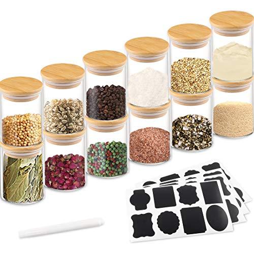 EKKONG12pcs Tarros de Vidrio de Almacenamiento Botes de Cristal con Tapa de Bambú&Anillo de Silicona, Hermético Transparente Cocina Recipientes para Alimentos para Almacenaje y Conservar Alimentos