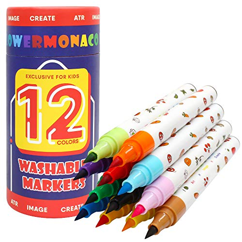 Washable Markers for Kids Ages 2-4 Years, 12 Colors Toddler Markers for Coloring Books, Broad Line & Fine Line Nontoxic Markers Safe for Children, Toddler Boys Girls Flower Monaco