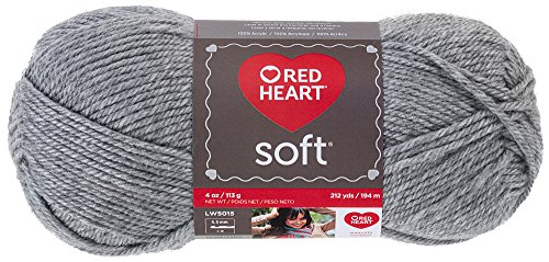 Red Heart Soft Yarn, Light Gray Heather (E728.9440)