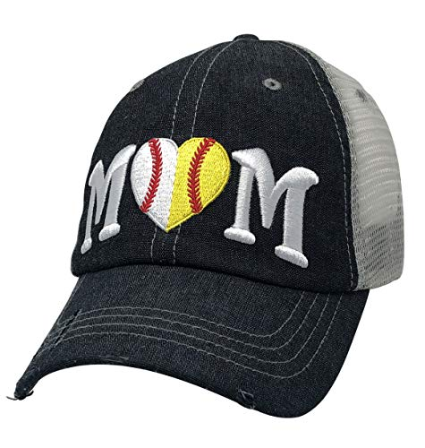 Cocomo Soul Baseball Softball Ball Mom Embroidered Mesh Trucker Style Hat Cap Baseball MOM Softball MOM 1/2 1/2Gift Mothers Day Dark Grey