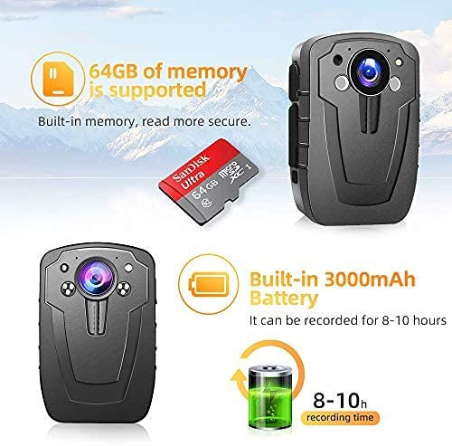 1296P HD Police Body Camera, 2 Inch Display, Night Vision, Infrared Laser Positioning, IP67, 3000mAh Battery, Waterproof, Shockproof, CAMMHD Body Worn Camera (Built in 64GB)