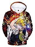 WANHONGYUE Anime Nanatsu No Taizai The Seven Deadly Sins Hoodie Sudadera con Capucha Cosplay Disfraz 3D Impreso Pullover Suéter con Bolsillos Cordón 7 S