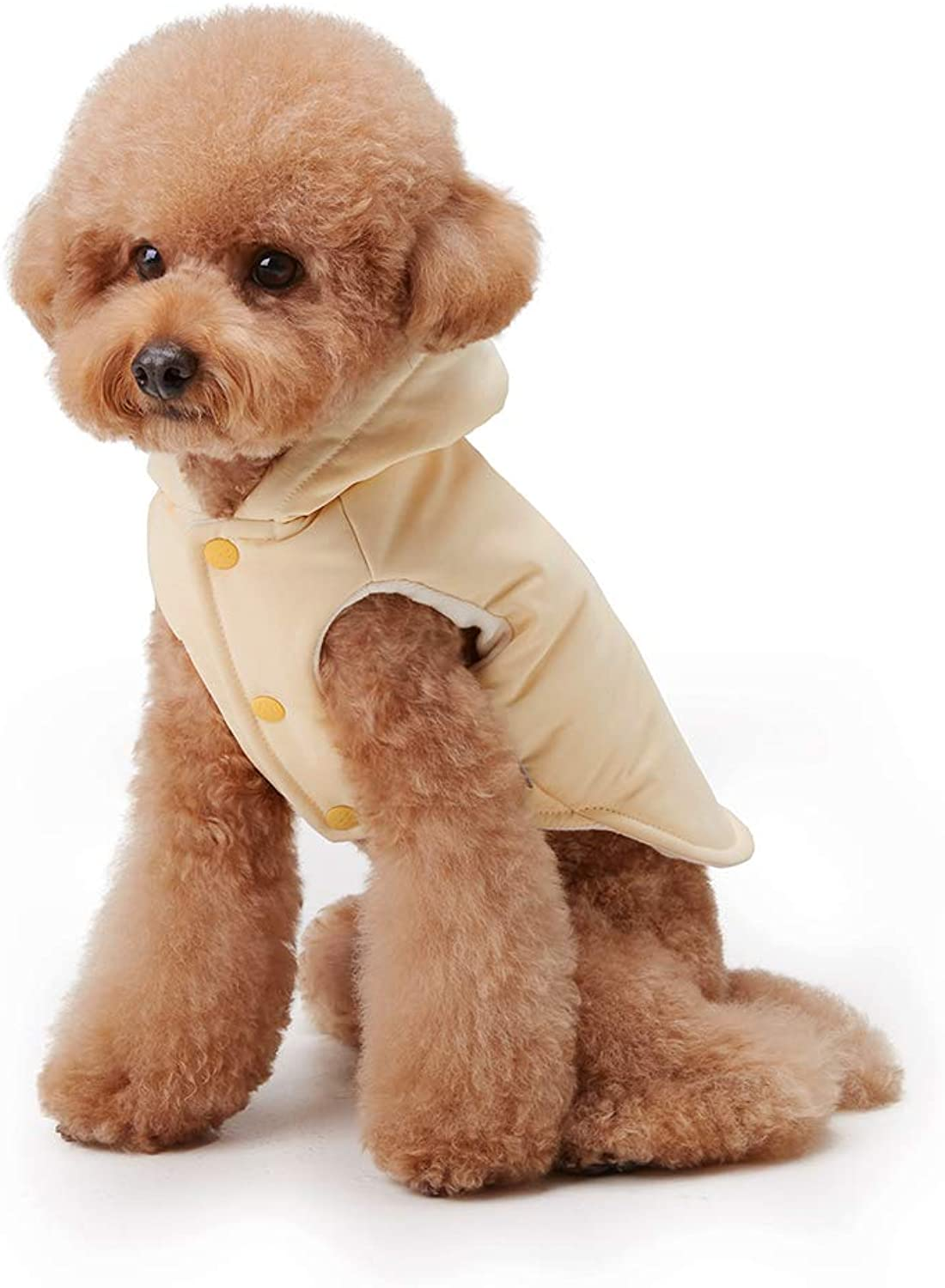My Fluffy Dog Apparel Pastel Warm Jacket Hoodie for Dog Winter Coats Vest (Medium, Lemon Yellow)