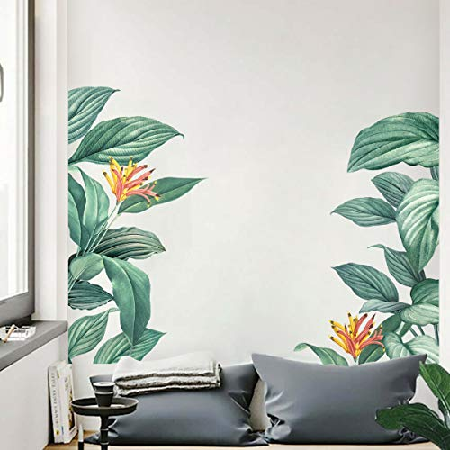 decalmile Stickers Muraux Tropical Feuilles de Banane Autocollant Mural Plante Verts Décoration Murale Chambre Salon Bureau
