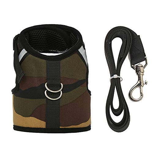 M-YOUNG Escape Proof Cat Harness with Leash - Adjustable Plaid Soft Mesh - Best for Walking Cool,Rabbits Puppy Kittens&Small Dogs (L, Camo)