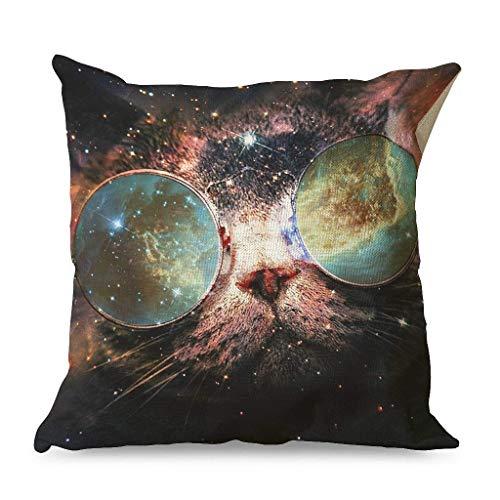 Fundas de almohada decorativas con diseño de gato humor, gafas de sol, estrellas, nebulosa, galaxia, algodón, lino, con cremallera, funda de cojín cómoda para coche, color blanco 45 x 45 cm