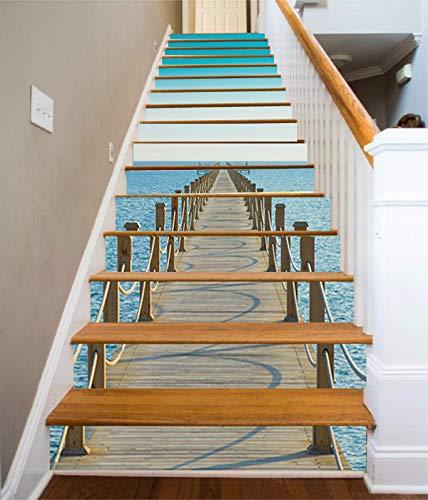 FLFK 3D Muelle bajo el cielo azul auto-adhesivos Pegatinas de Escalera pared pintura vinilo Escalera calcomanía Decoración 39.3 pulgadas*7.08 pulgadas*13Piezas