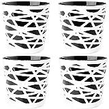 2friends 4er Set Blumentopf Übertopf, 2 in 1, stabilem Kunststoff, mit herausnehmbarem Einsatz, Durchmesser 15 cm, Höhe 15 cm, schwarz/weiß