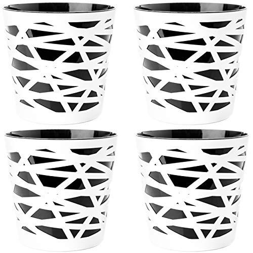 2friends Lot de 4 cache-pots 2 en 1 en plastique solide avec insert amovible - Diamètre 15 cm - Hauteur 15 cm - Noir/blanc