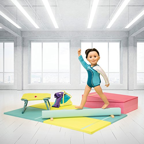 """Maplelea Gymnastics Set Includes Trampoline, Balance Beam and Practice mats for 18"""" Dolls Like American Girl, Journey Girl, Our Generation"""