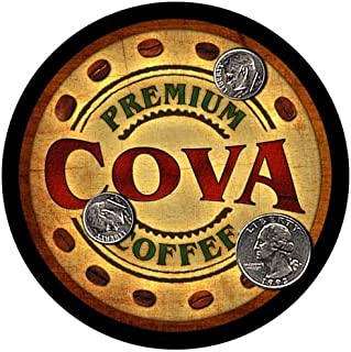 Cova Family Name Coffee Rubber Drink Coasters - 4 pcs