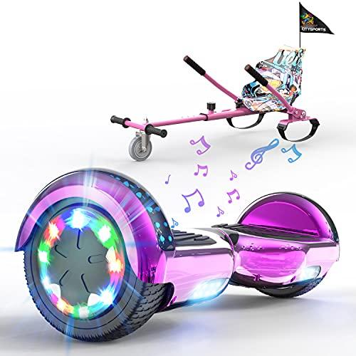HITWAY Hoverboard mit Sitz, Hoverkart komplett für Kinder, Elektro Scooter Go-Kart mit Bluetooth und LED-Lichtern, Elektro Skateboard mit Set, Geschenk für Kinder Jugendliche Erwachsene