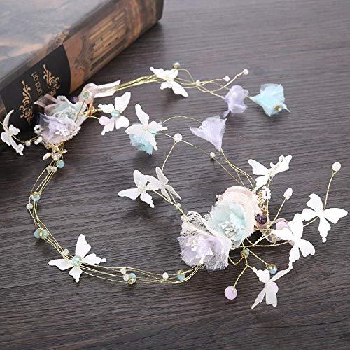Littlefairy Braut Haarschmuck,Bridal Schmetterling Kopfschmuck Haar Gürtel Schmuck Brautkleid Zubehör 60 * 10cm