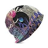 Beanie Knit Cap para niño niña, género Musical Blues Old Record Guitarras eléctricas Kiss Inscripciones Grunge, Suave y cálido Sombrero de Invierno