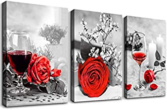 Black and white Red wine Watercolor painting Canvas Wall Art for kitchen 3 piece Wall Decor for dining room,restaurant Decorations red roses flowers Canvas Prints Home Decoration Poster Artwork