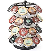 Nifty Coffee Pod Carousel – Compatible with K-Cups, 40 Pod Pack Storage, Spins 360-Degrees, Lazy Susan Platform, Modern Black Design, Home or Office Kitchen Counter Organizer