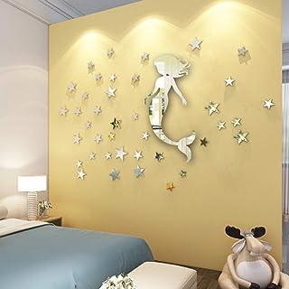 ATFUNSHOP Espejo de pared con diseño de sirena de 50,8 cm y 53 estrellas para decoración de pared de habitación de niña y espejo plateado para decoración de fiesta de sirena