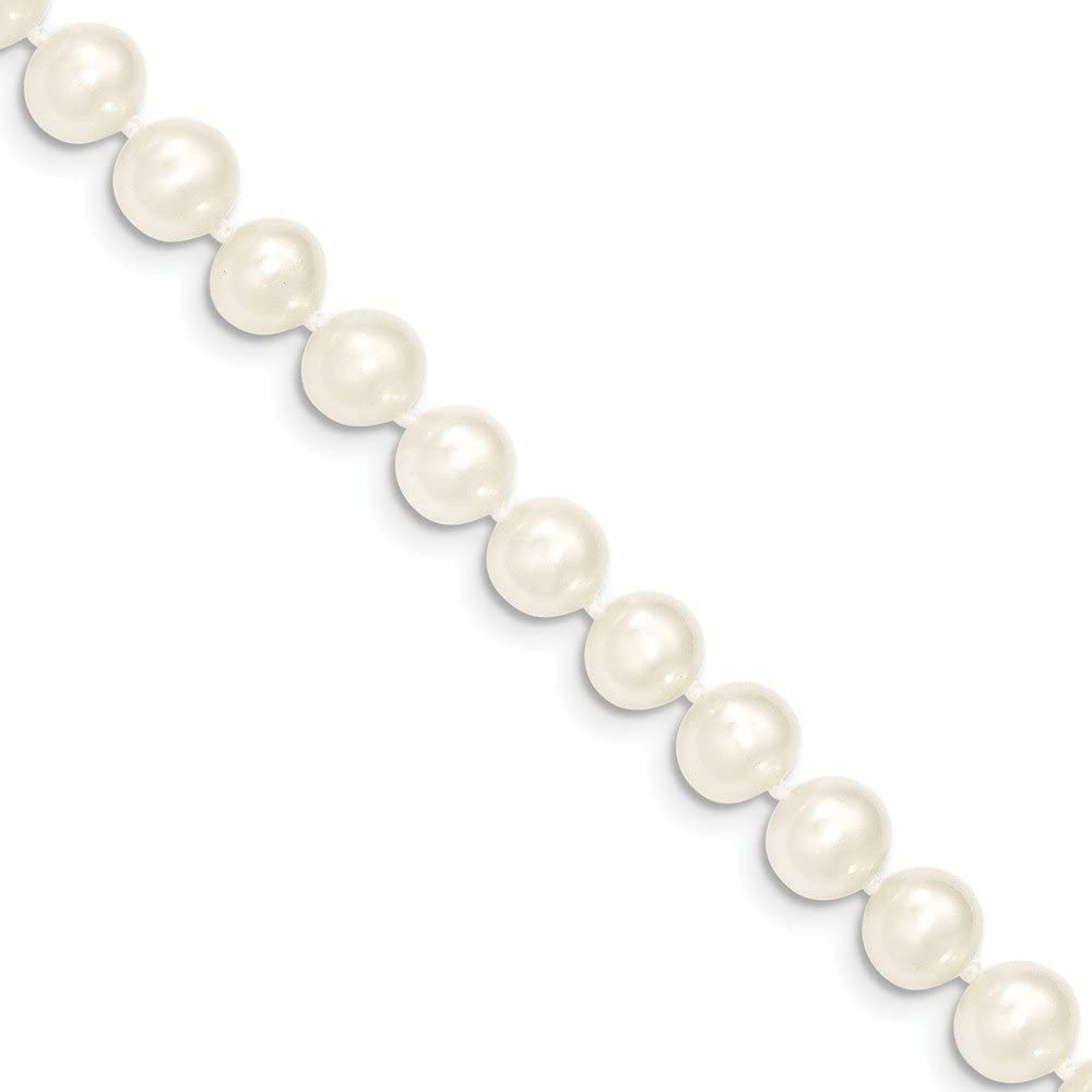14k Yellow Gold 8mm White Near Round Freshwater Cultured Pearl Chain Necklace Pendant Charm Fine Jewelry For Women Gifts For Her