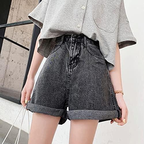TSP New Summer Women Vintage Wide Leg Hole Blue Denim Shorts Casual Female Streetwear Loose High Wasit Jeans Shorts (Color : Dark Grey, Size : S)
