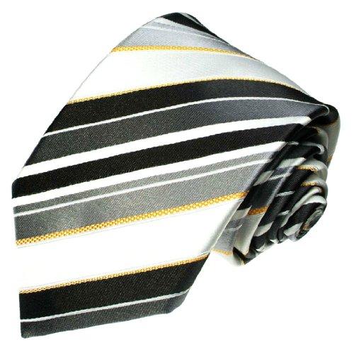 Lorenzo Cana - Schlips XXL 165 cm lang EXTRALANG, Weiss Silber Grau Überlange Krawatte aus 100% Seide mit Streifen - 7710399