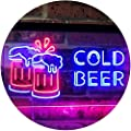 ADVPRO Cold Beer Bar Pub Club Décor Dual Color LED Neon Sign st6-i2069