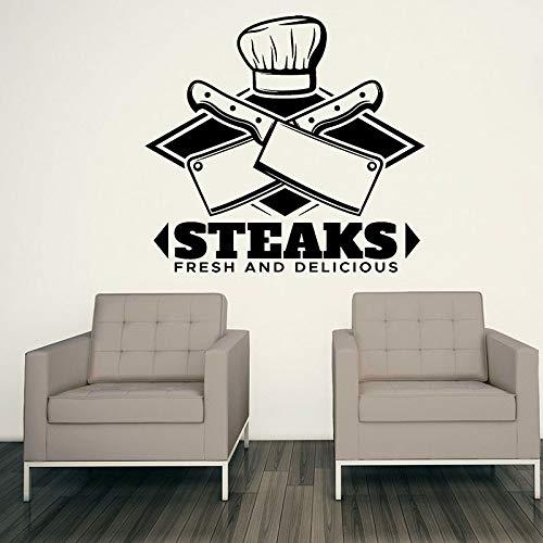 Etiqueta de la pared bistec fresco y delicioso adhesivo de vinilo de carne mejor decoración