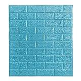 <span class='highlight'><span class='highlight'>BOJU</span></span> 10Pcs 3D Tile Brick Wall Stickers Self-Adhesive Wallpaper Foam Panel 70×77cm (Teal Blue)