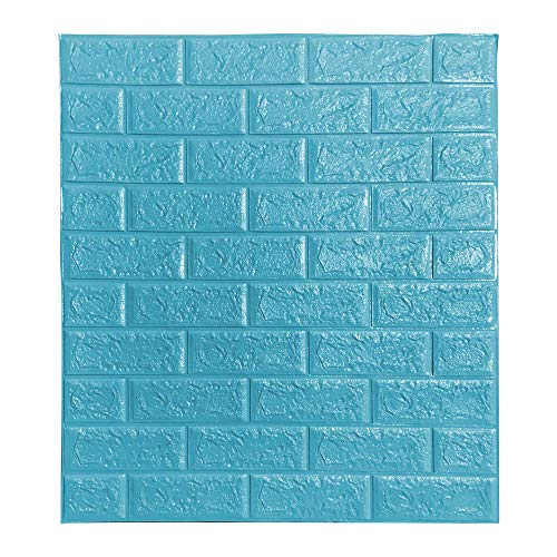 BOJU 10Pcs 3D Tile Brick Wall Stickers Self-Adhesive Wallpaper Foam Panel 70×77cm (Teal Blue)