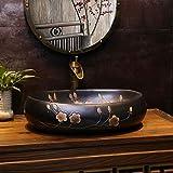 Fregaderos de Estilo Industrial Armarios de baño Antiguos Ovales Tradicionales Que se llenan con una Ranura de Desbordamiento, Negro, 60 cm * 40 cm* 15 cm 1212