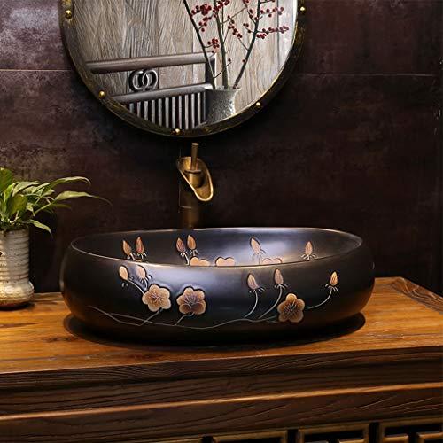 Industriële stijl wastafels traditionele ovale antieke badkamer kasten vullen met een overloop sleuf, zwart, 60CM*40CM*15CM 1212