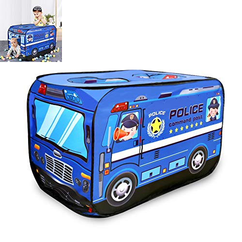 LtaoL Popup Play Tent Police Toy Car, Easy Fold Unfold Shutter Door Design Dual Sunroof Breathable Flexible Steel Bar Support, for Backyard Parks Parties