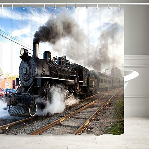NYMB Steam Engine Shower Curtain, Train on Railroad Track Showre Curtains, Waterproof Polyester Fabric Bathroom Decorations, Bath Curtains 69X70 Inches 12PCS Hooks Included