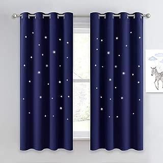 NICETOWN Children Blue Blackout Curtain - Hollow Star...