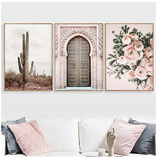 sjkkad Boho poster woestijnlandschap canvas schilderij deur bloemendruk decoratie wandschilderijen voor woonkamer Marokkaanse decoratie-50x70 cm geen lijst