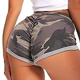 FITTOO Pantalones Cortos Leggings Mujer Mallas Yoga Alta Cintura Elásticos #2 Camuflaje Cotton Gris M
