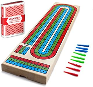 Cribbage – Traditional Wooden Board Game, Classic 3-Track Layout & Plastic Pegs..