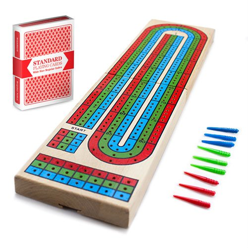 Cribbage – Traditional Wooden Board Game, Classic 3-Track Layout &...