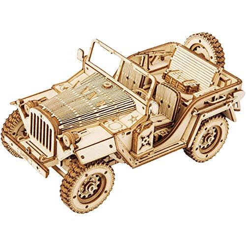 Fikujap 3D Holz Puzzle-BAU-Set DIY-Simulation Rennwagen-Dampfzug-LKW-Mechanik-Modell-BAU-Kit 3D-Laser-Cut Woodcraft-Modell für Erwachsene und Kinder,D