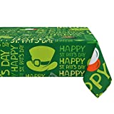 Sunm Boutique Green St Patrick's Day Tablecloth, Shamrocks Tablecloths, Machine Washable, Happy St Pat's Day Decoration, Perfect for Holiday Parties, 55 x 55 inch