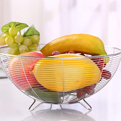 Wankd - Frutero redondo de alambre de metal, diseño moderno para frutas, verduras y más, cesta para guardar frutas, color plateado