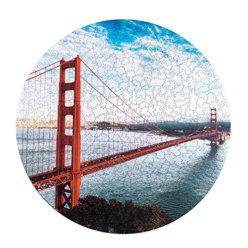 Gpure Puzzles de Madera Irregular 3D 0.2cm Niños Adultos Paisaje San Francisco Puente de Puerta de Oro de Dibujos Juguete Educativos Juegos De Construcción Maqueta De Fiesta Regalos De Cumpleaños