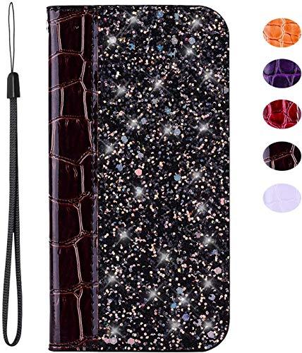 vingarshern Hülle für LG K5 Schutzhülle Etui Klappbares Magnetverschluss Flip Hülle Lederhülle Glitzer Handytasche LG K5 Hülle Leder Tasche(Brown) MEHRWEG