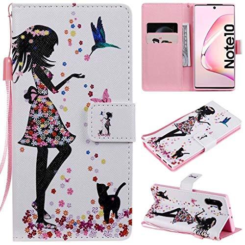 Miagon Flip PU Leder Schutzhülle für Samsung Galaxy Note 10,Bunt Muster Hülle Brieftasche Case Cover Ständer mit Kartenfächer Trageschlaufe,Mädchen Katze Blume