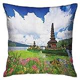Funda de almohada divertida cuadrada balinesa Pura Ulun Danu Temple Bali Tropic Flowers AguaPlants Tower in Sea Scenery Fundas de cojín azul verde rosa Fundas de almohada para sofá Dormitorio Coche