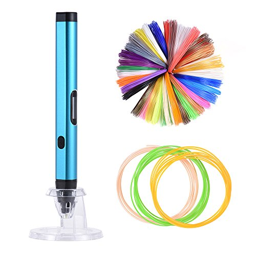 Aibecy Pen stampa 3D Stampante Intelligenza Disegno Schermo OLED w/200m/656.2ft ABS+9m/29.5ft PLA Filamento 1,75mm per DIY Doodling Arte Artigianato Fare Bambini Regalo (20 Colori Assortiti Filament)