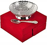 INDICRAFTSVILLA: Crafts Place to Discover World German Silver Single Bowl with Royal Velvet Box -2...