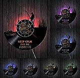 WZCXYX Discos de Vinilo Reloj de Pared Mantener la Calma y Pescar Pescador Divertido Reloj de Pared Pesca en el río Discos de Vinilo Reloj de Pared Amante de la Pesca Reloj