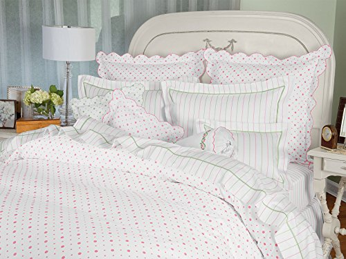 Cheap Schweitzer Linen Petit Pois Shams, Pink (King, Each)
